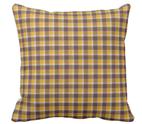 Throw Pillow Fall Plaid in Gold