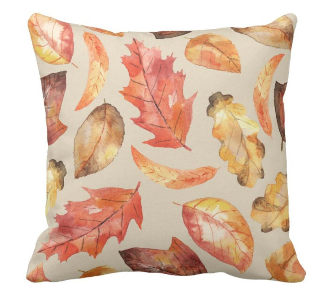 Throw Pillow Watercolor Fall Leaves