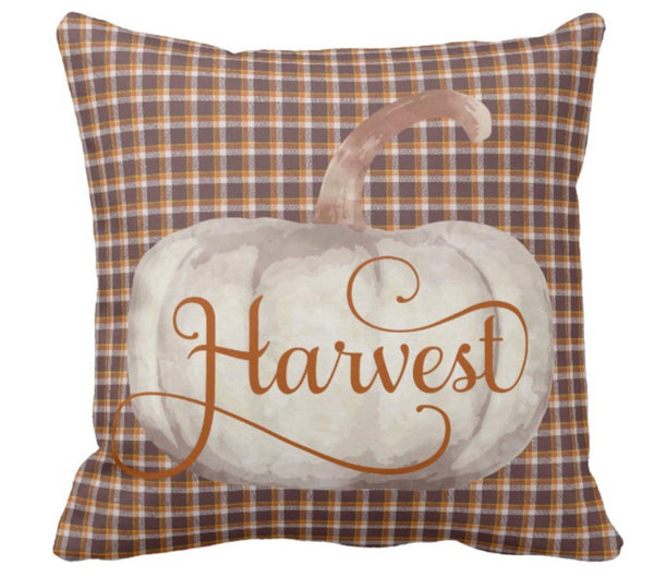 Throw Pillow Plaid Cream Pumpkin