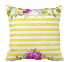 Yellow Striped Purple Sunflower Hydrangea Floral Throw Pillow