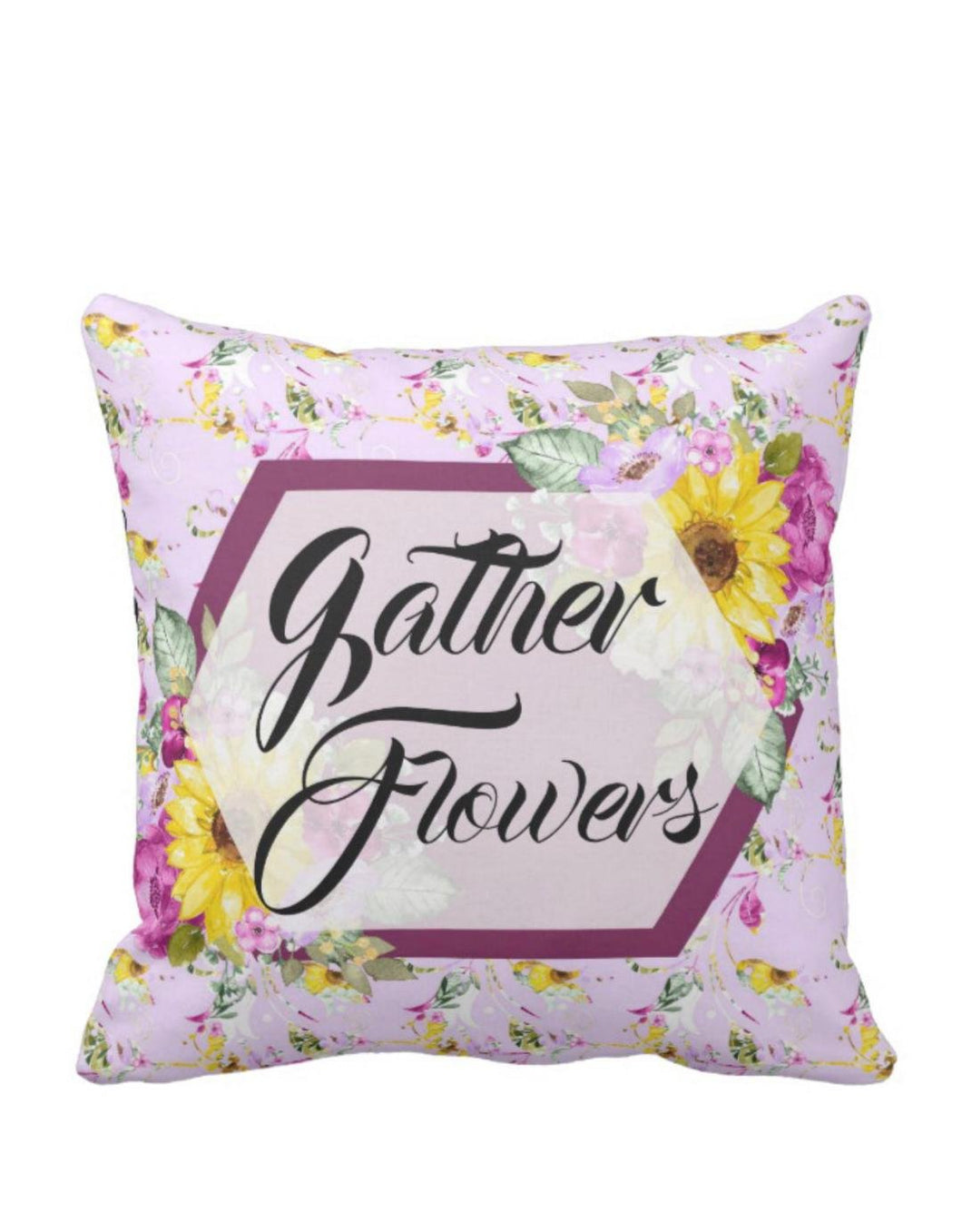 Floral Sunflower Purple Blooms Gather Flowers Throw Pillow