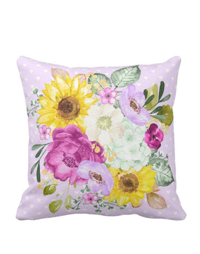 Floral Bouquet Lavender Purple Sunflower Hydrangea Throw Pillow