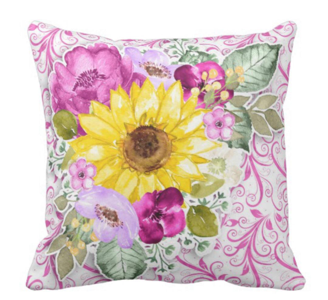 Purple Flowers Yellow Sunflower Watercolor Floral Throw Pillow