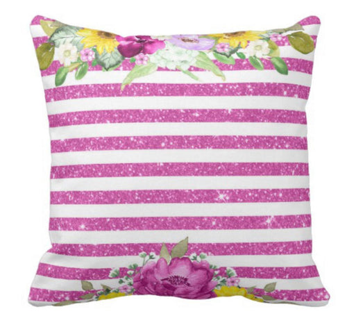 Purple White Stripe Yellow Floral Blooms Throw Pillow