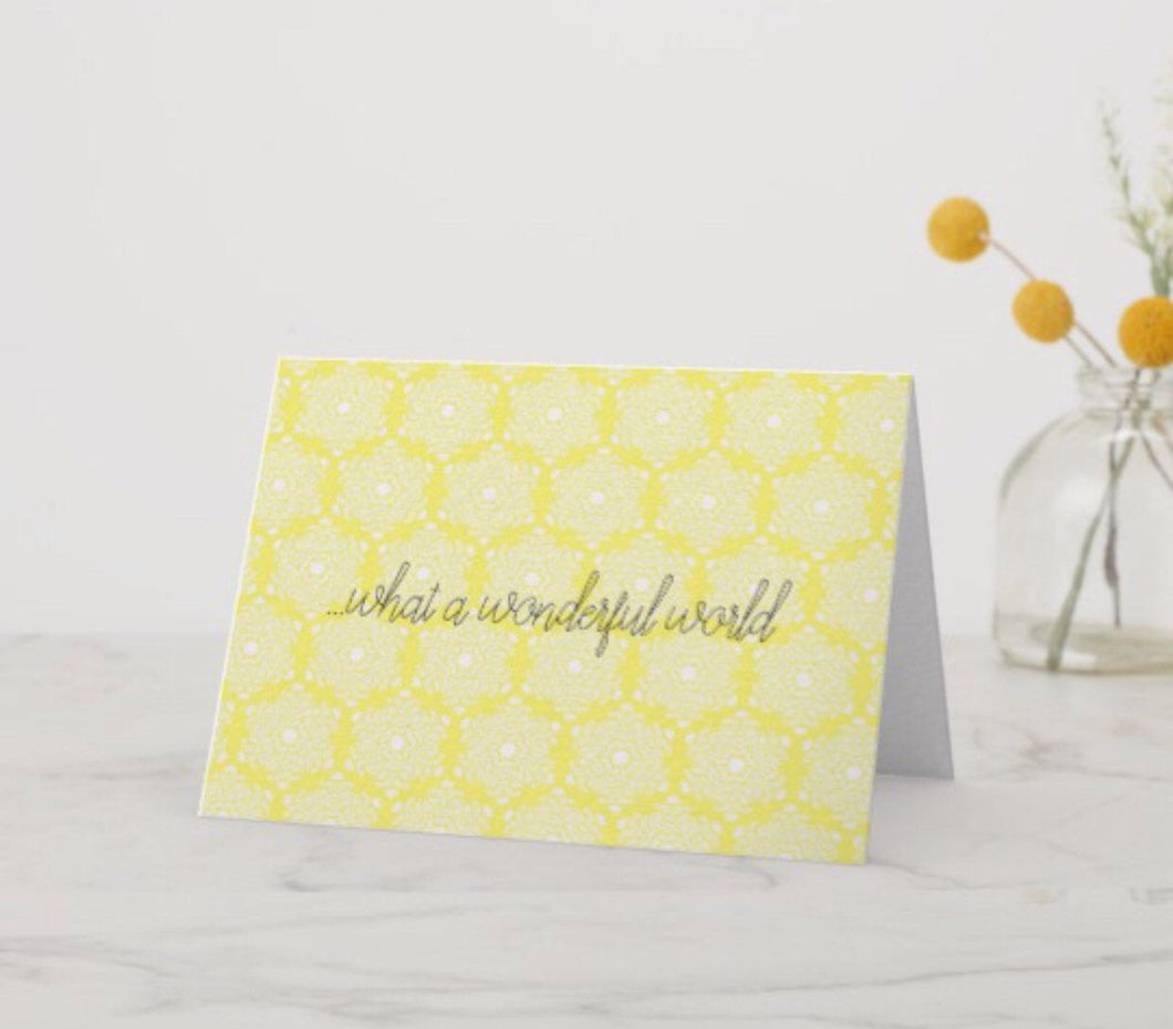 Blank Greeting Card in Yellow Damask
