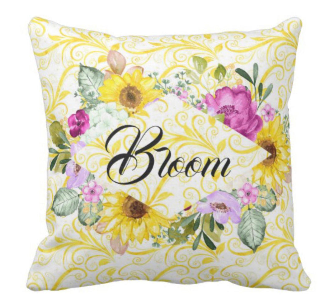 Purple Blooms and Sunflowers Floral Bloom Throw Pillow