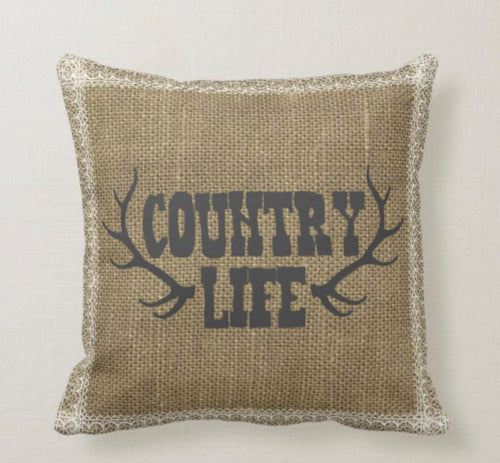Antler Country Life Burlap & Lace Design Pillow