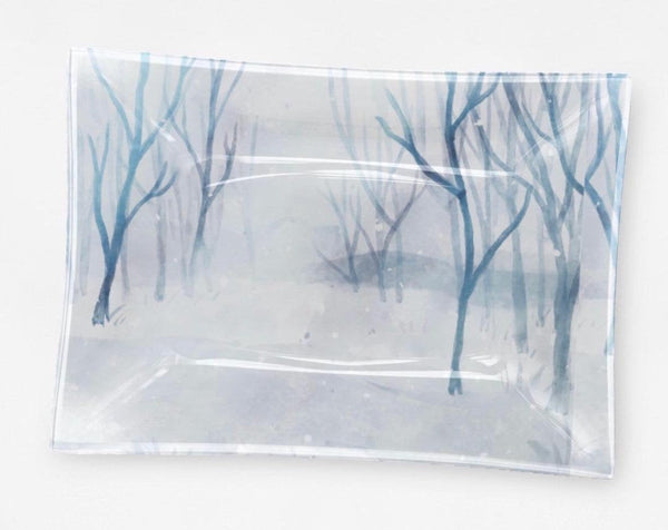 Winter Snow Scene Decorative Glass Tray Blue and White