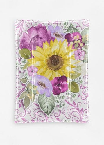 Sunflower Purple Floral Oblong Glass Decorative Tray