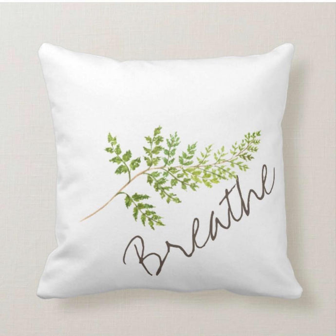 Watercolor Fern Frond on White Pillow