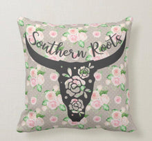 Boho Style Southern Roots Throw Pillow Floral and Polka Dots Pattern Black Bull