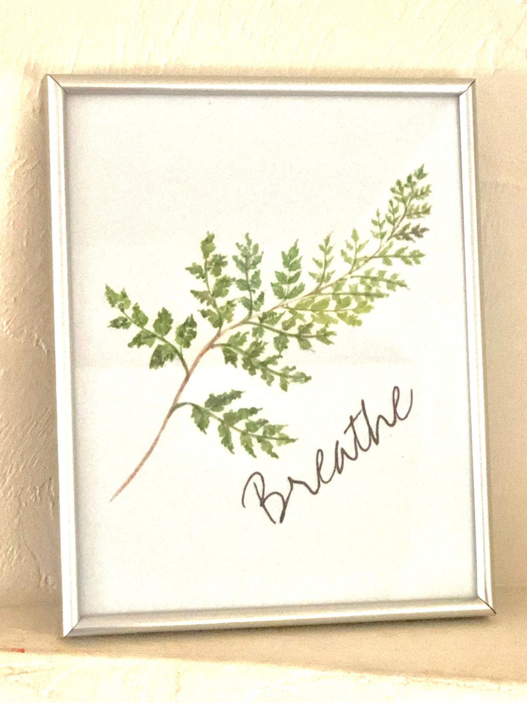 Watercolor Fern Frond 8 X 10 Art Typography Print