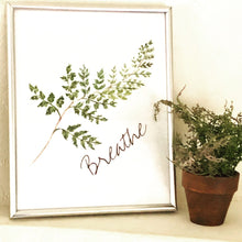 "Watercolor Fern Frond 8 X 10 Art Typography Print ""Breathe"""
