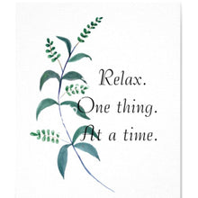 "Watercolor Botanical Typography Art Print ""Relax"" 8 X 10"