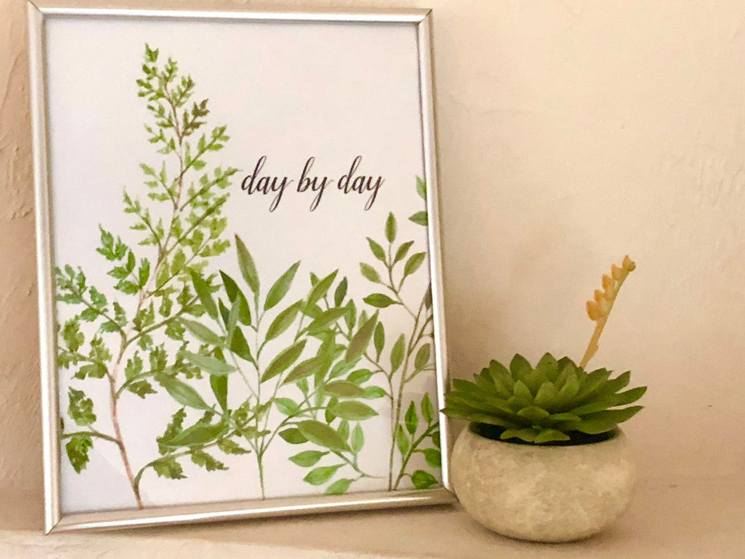 Watercolor Botanical Art Typography Print