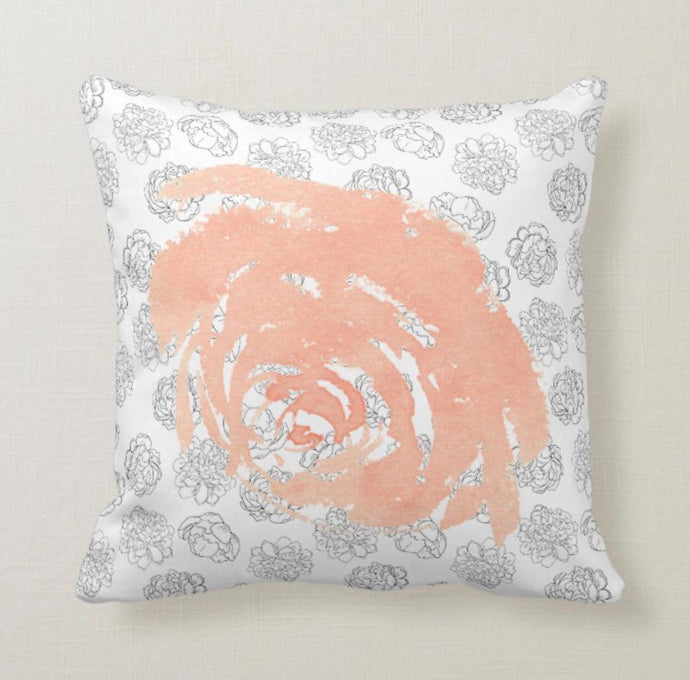 Peach Bloom on Black and White Floral Pillow 16 X 16