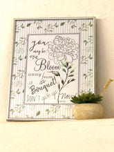 Typography Quote Print, Floral, Grey Stripe, One Bloom Away Don't Give Up, Encouraging, Inspirational Wall Art