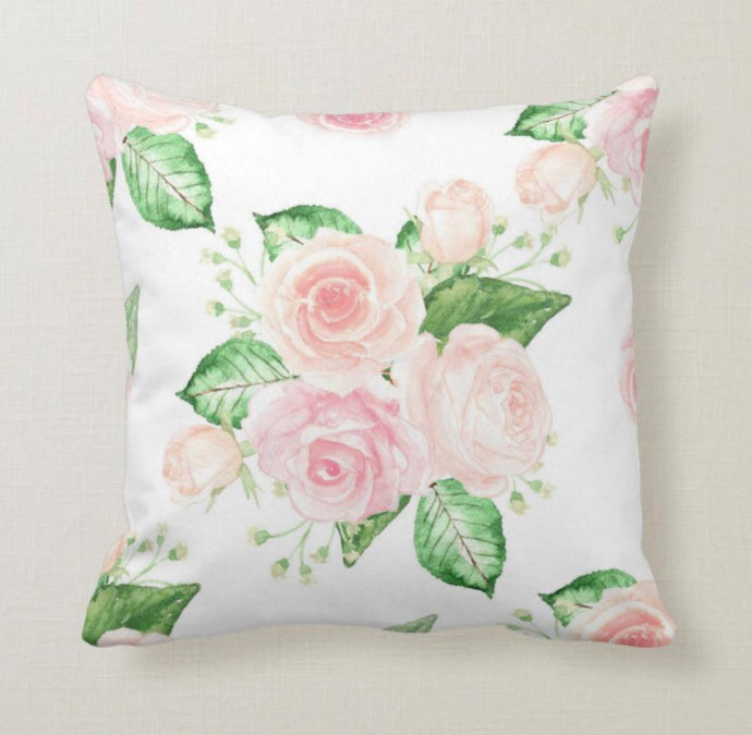 Pink Cottage Rose Throw Pillow