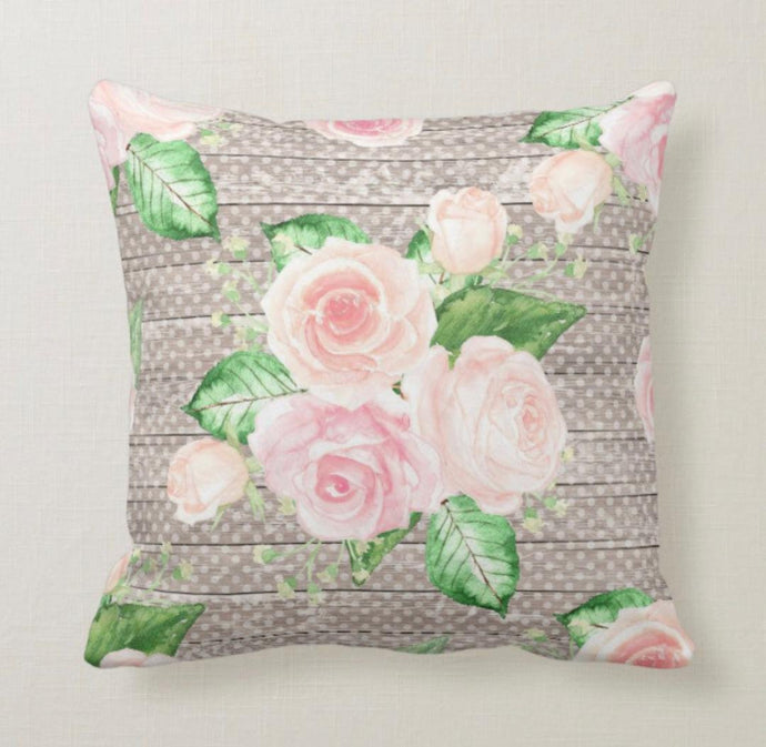 Pink Cottage Rose Bouquet on Tan Polka Dots Pillow