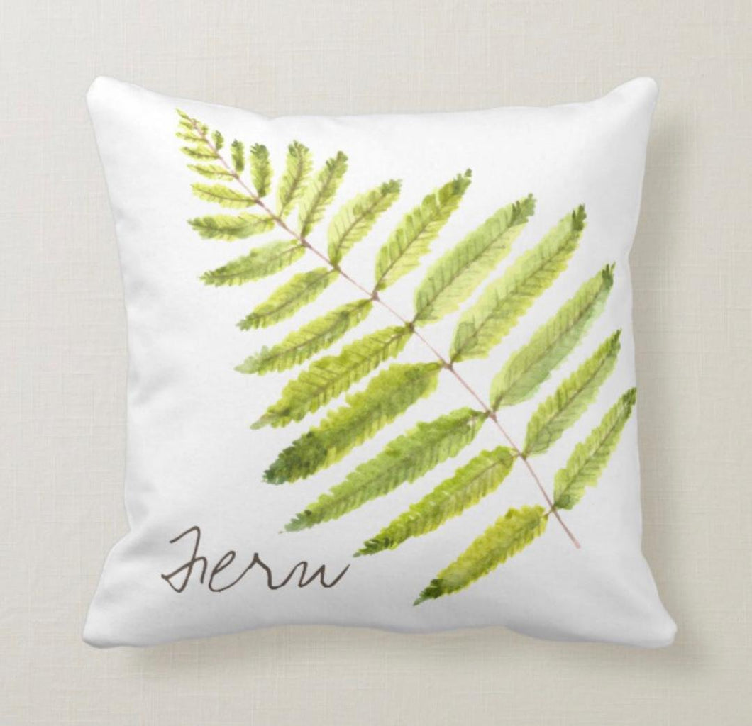 Green Fern White Throw Pillow