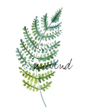 "Watercolor Botanical Fern ""Unwind""  8 X 10 Art Typography Print"