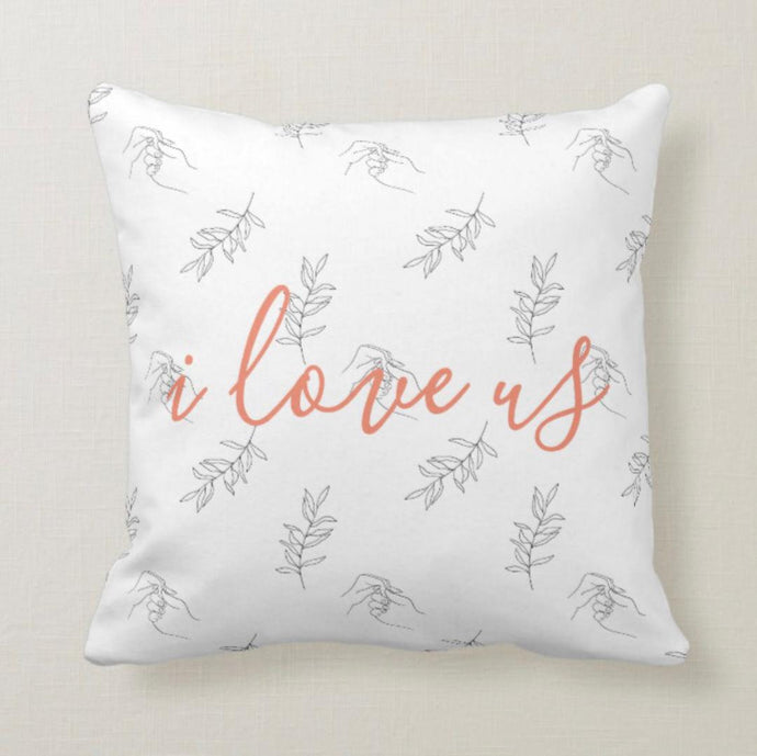 Peach Floral Hands Touching i love us Throw Pillow 16 X 16