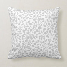 "Grey & White Soft Botanical Pattern ""Bloom Anyway"" Throw Pillow 16 X 16"