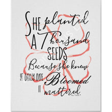 Typography Print, Peach Floral, Quote, One Bloom Mattered