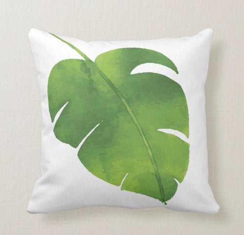Throw Pillow, Watercolor, Green Tropical Leaf, White, Tropical  Summer Pillow