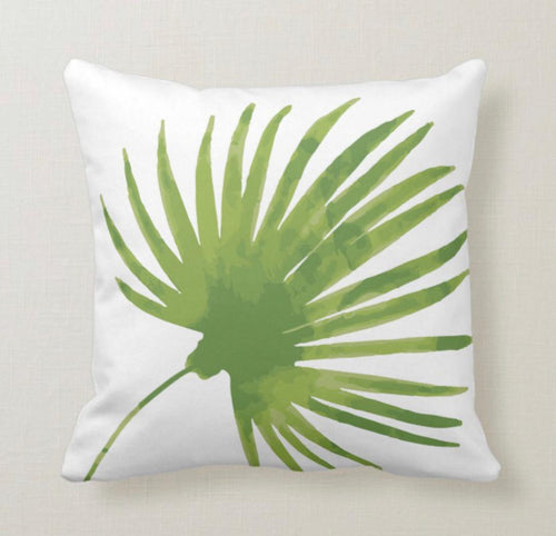 Throw Pillow, Watercolor, Princess Palm Leaf, White, Tropical Throw Pillow