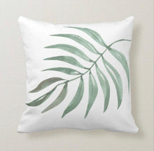 Throw Pillow, Relaxing, Palm Leaf, White Pillow, Tropical Calm, Tropical Throw Pillow