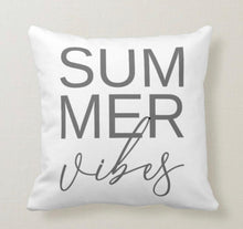 Throw Pillow, Summer Vibes, Gray Typography, Farmhouse, Beach, White Pillow