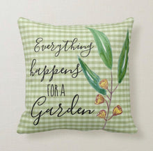 Throw Pillow, Everything Happens For a Garden, Green Gingham, Gardening, Gardener, Throw Pillow