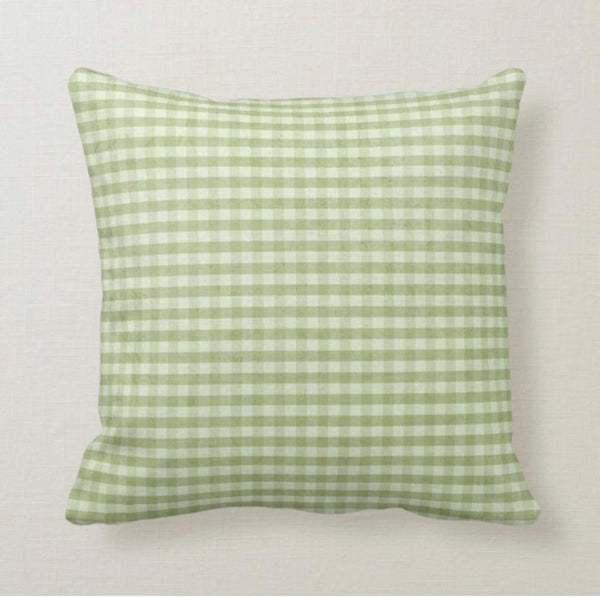Throw Pillow, Summer, Shabby Chic, Green Gingham, Summer Picnic, Green Check, Farmhouse Gingham, Pillow
