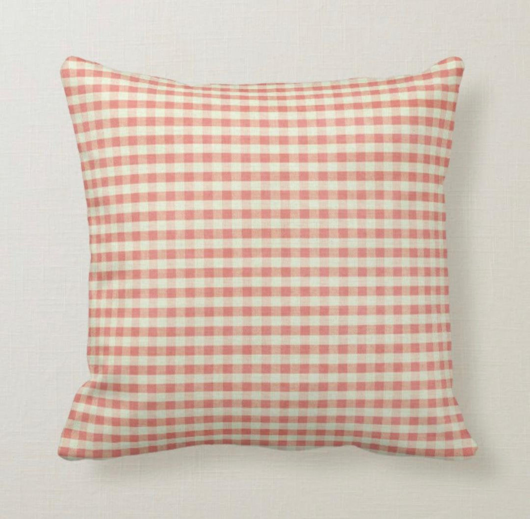 Gingham Pillow, Shabby Chic, Red Gingham, Summer Picnic, Checked, Red and White Check, Throw Pillow