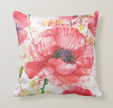 Watercolor, Red Poppy, Floral, Poppy Garden, Throw Pillow