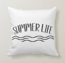 Throw Pillow, Summer Life, Light Blue Polka-Dots, Typography,