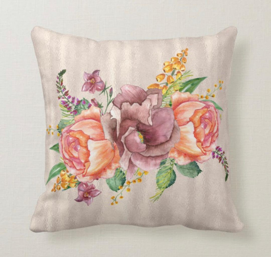 Throw Pillow, Floral Bouquet, Purple, Orange, Pink, Yellow, Bow, Garden, Floral Romance, Pillow