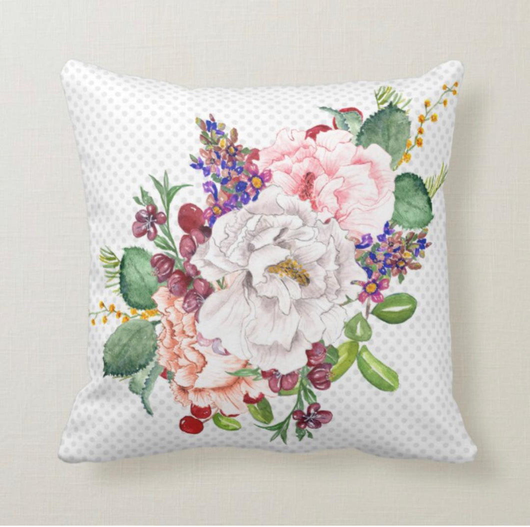 Throw Pillow, Floral Romance, Vintage, Watercolor Floral Bouquet, Polka-Dotted, Garden Inspired Pillow
