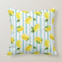 Throw Pillow, Yellow Lemon Pattern, Light Blue Stripe, Summer Lemon Pillow, Cottage Style, Lemons and Stripes