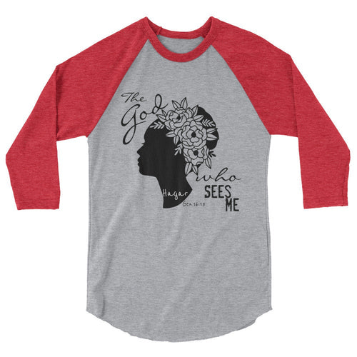 3/4 sleeve raglan t-shirt, The God Who Sees Me, Religious T-shirt, Bible Verse, Hagar, Faith Tee