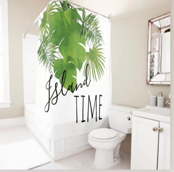 Tropical Island, Shower Curtain, Watercolor Tropical Leaves,