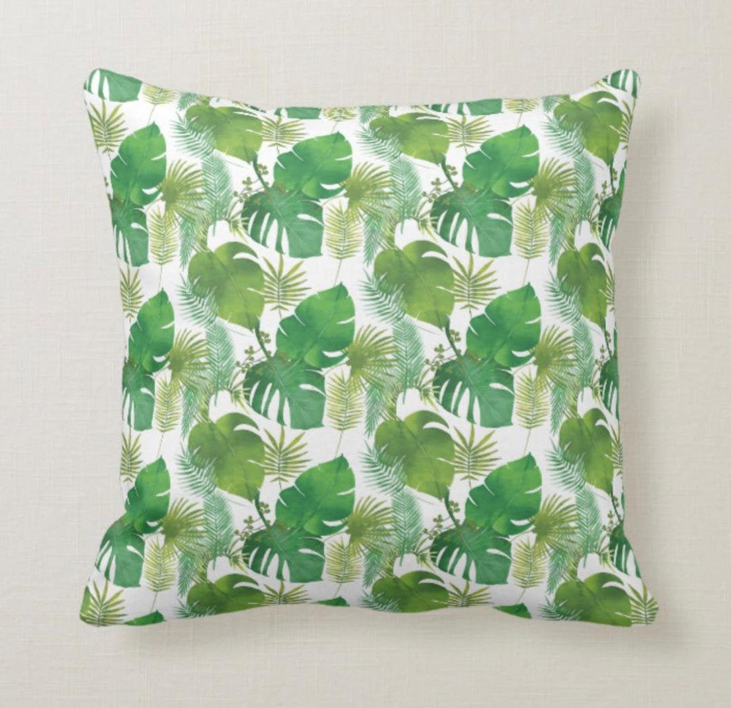 Tropical Pillow, Island Inspired, Tropical Leaves, Summer Jungle, Green Botanical, Throw Pillow