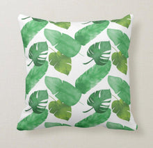 Green Botanical Pillow, Tropical Leaves Pattern, Watercolor, Green Botanical, Island Style, Throw Pillow