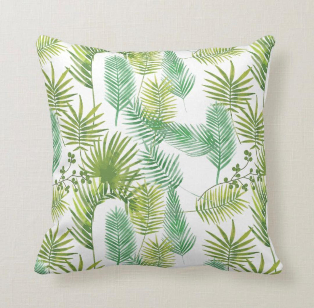 Tropical Leaf Pillow, Watercolor Palm Leaves, Green, Tropical Throw Pillow, Island, Beach Home Decor