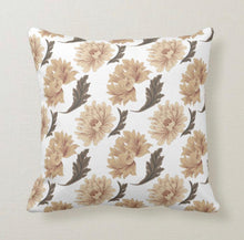 Tan Dahlias, Brown Leaves, Autumn & Winter Floral, Throw Pillow