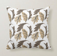 Autumn and Winter, Tan & Brown, Leaf Pattern, Throw Pillow
