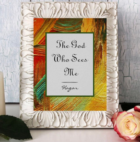 Ready to Frame Flat Card, The God Who Sees Me, Oil Texture, Hagar Quote, Religious Art, Bible Verse