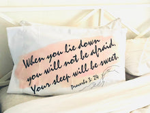 White Pillow Case, Blush, Watercolor Stroke, Bible Verse, Sleep Sweet, Proverbs, Typography