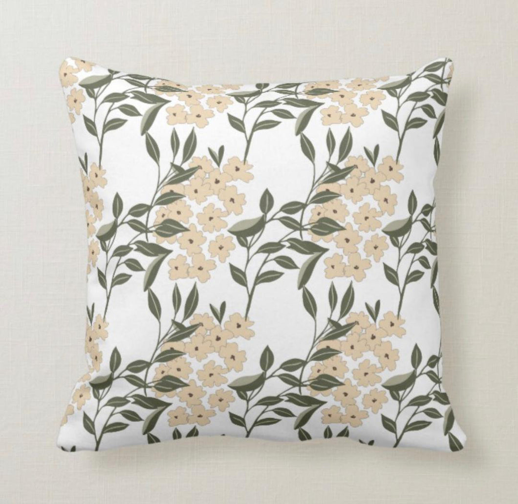 Tan and Grey, Floral Bouquets, Light & Airy, Throw Pillow